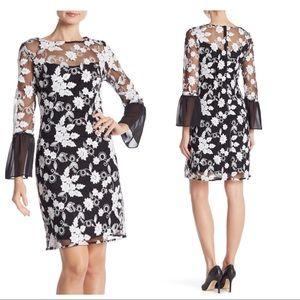 Nanette Lepore Embroidered Mesh Dress Black White